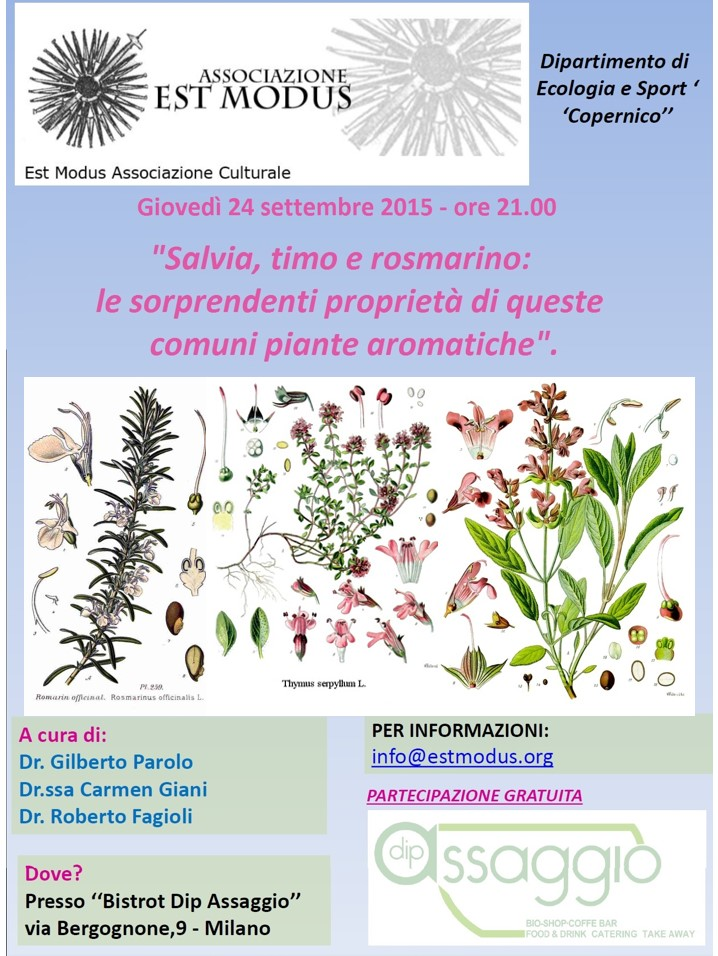 """24 settembre ore 21: """"Salvia, timo e rosmarino: le sorprendenti proprietà di queste comuni piante aromatiche""""."""