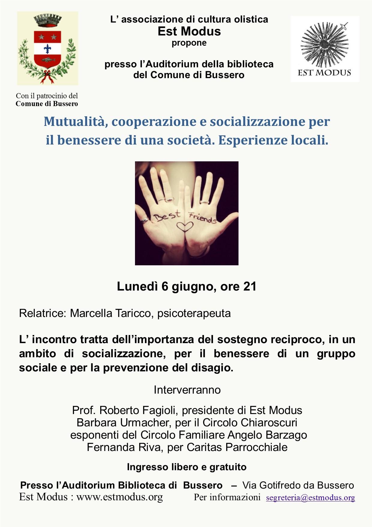 Seminario a Bussero il 6 giugno: Mutualità, cooperazione e socializzazione per il benessere di una società. Esperienze locali.
